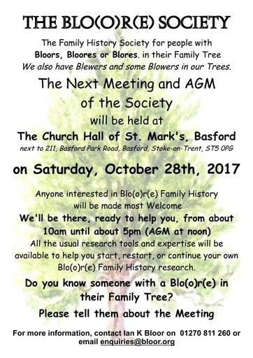Bloor Society AGM  October 2017