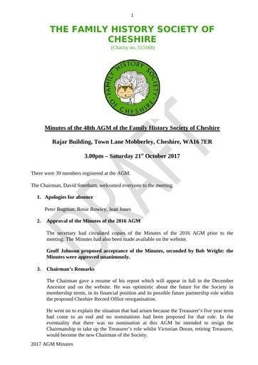 AGM 2017 Draft Minutes