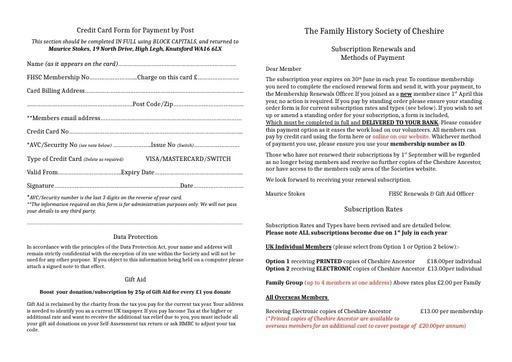 Membership Renewal Form