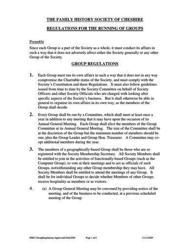 Group Regulations