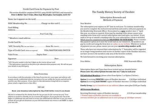 Membership Renewal Forms