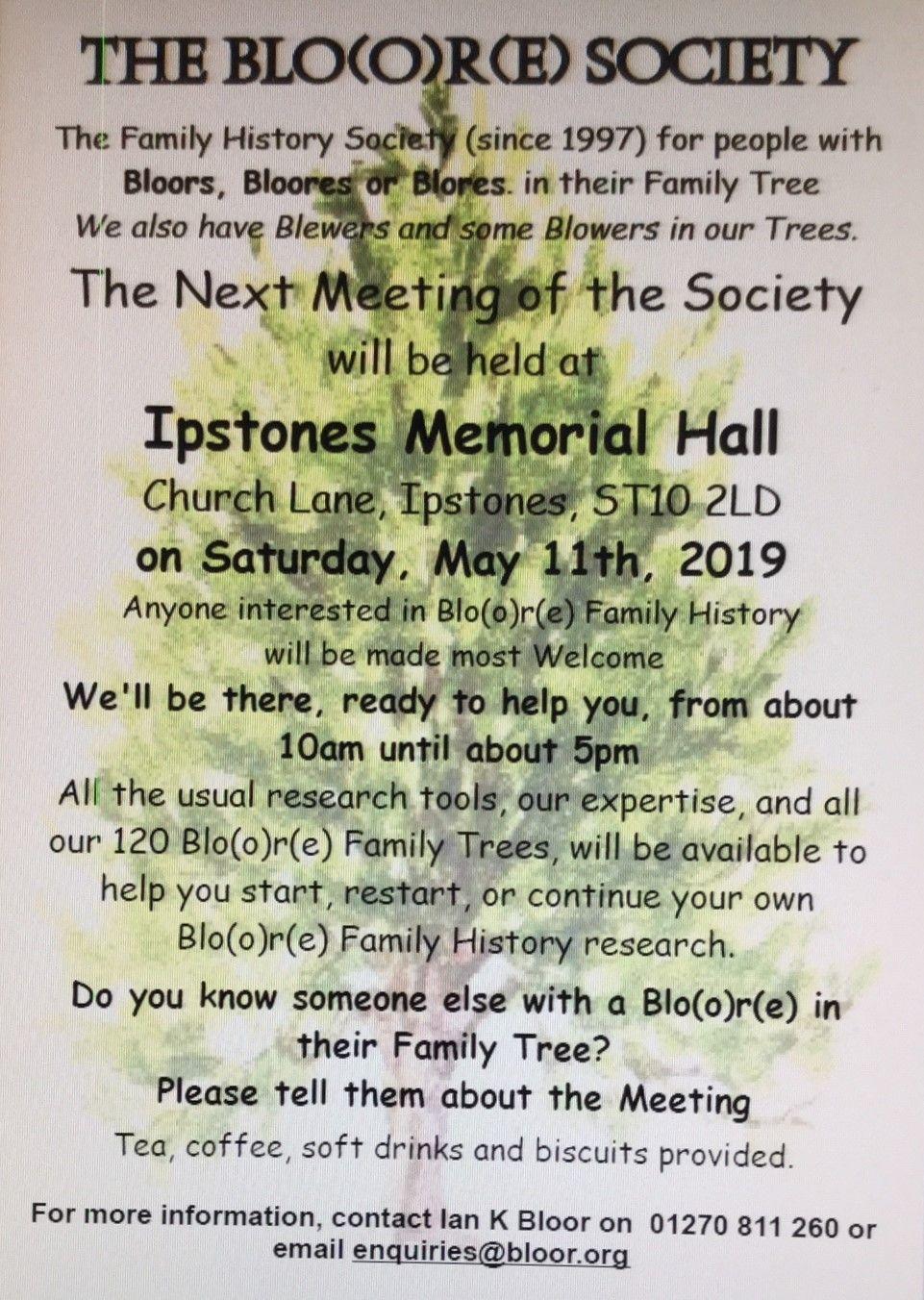 Next Bloor(e) Society Meeting