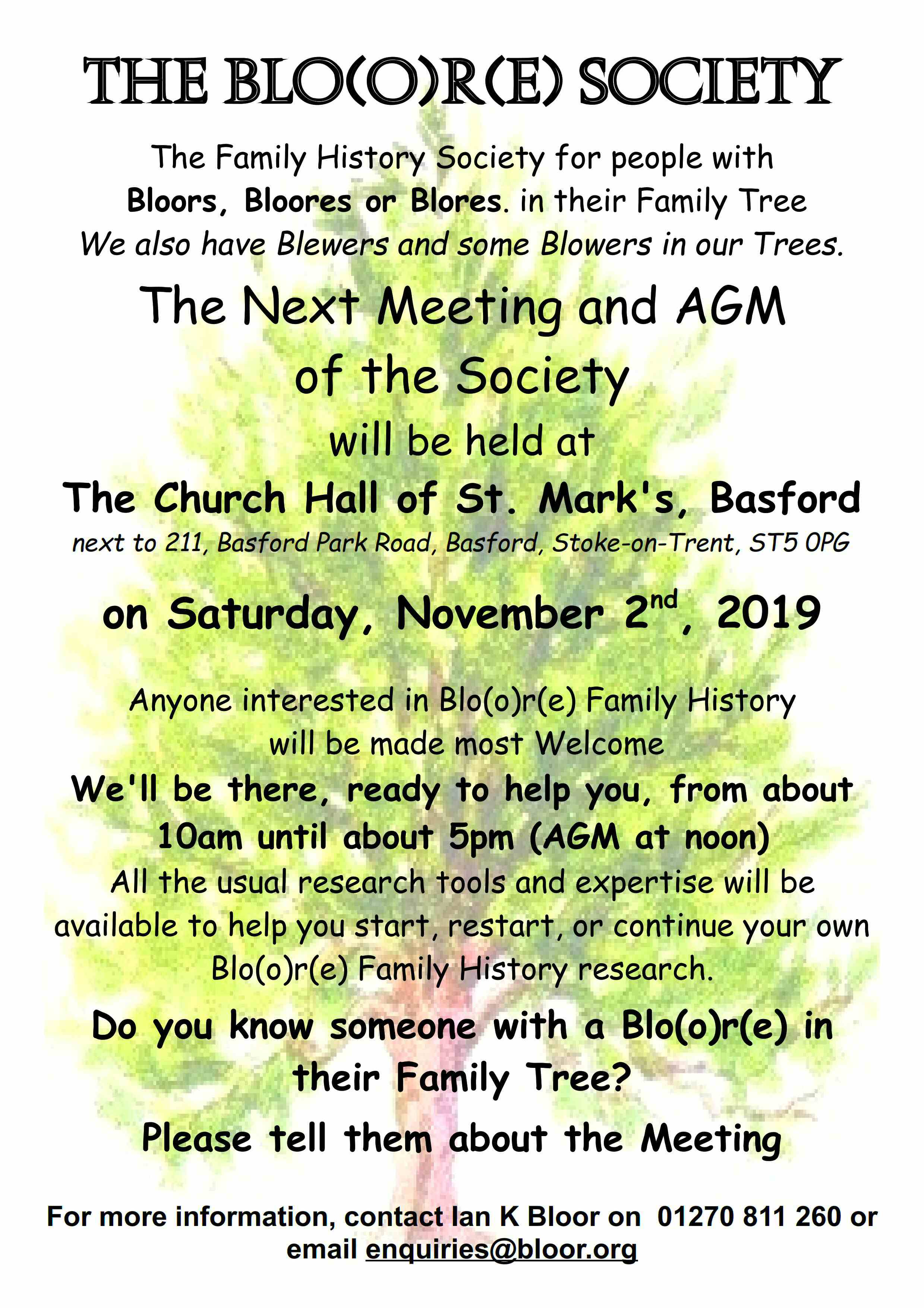Bloore Society Meeting and AGM