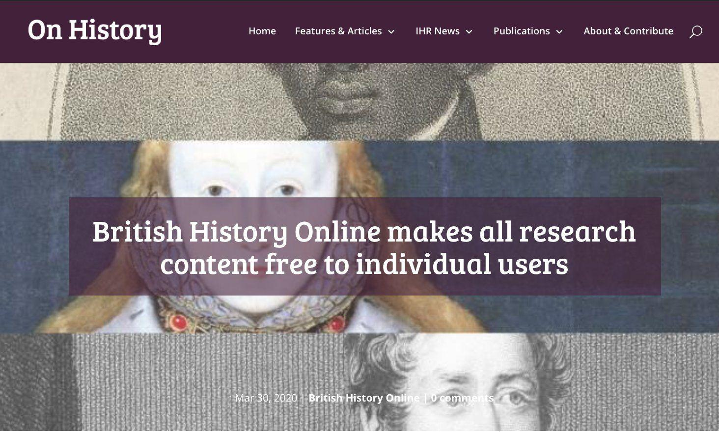 British History Online extends and expands it's free content offer
