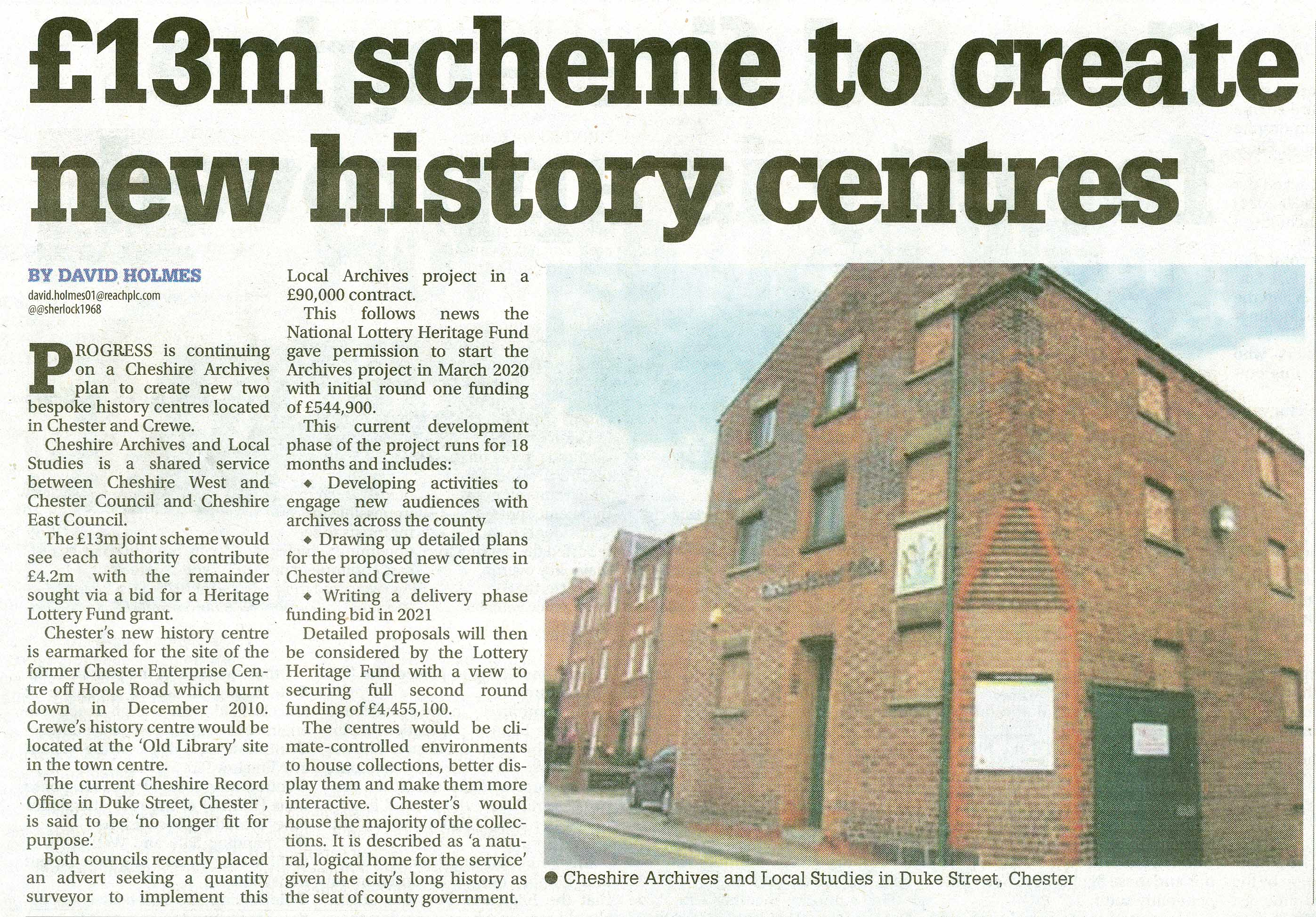 Cheshire Archives & Local Studies Centre News