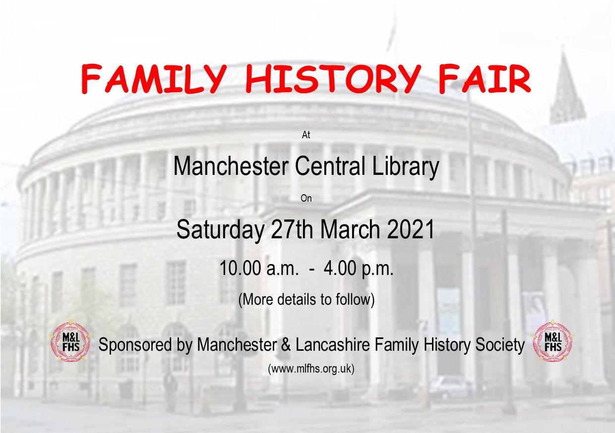 Advanced Notice of Family History Fair
