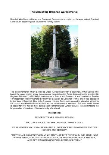 The Men of the Bramhall War Memorial