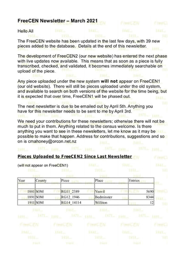 FreeCEN Newsletter 2021 #02 March