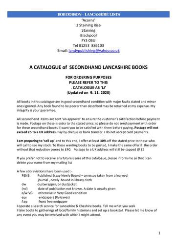 Bob Dobson - Lancashire Books and Various Papers for Sale