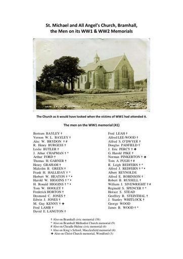St Michael & All Angels' Church, Bramhall - the Men of its WW1 & WW2 Memorials