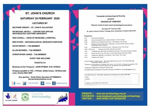 Tameside Archaeology Conference 29 February 2020