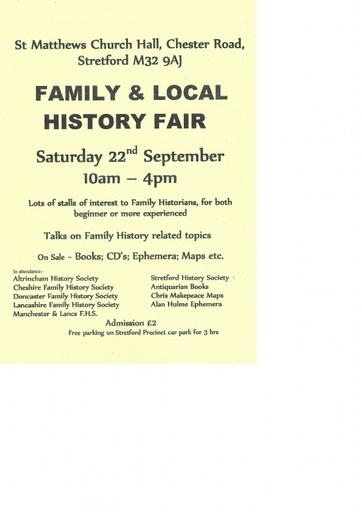 Stretford September Family History Fair Flyer