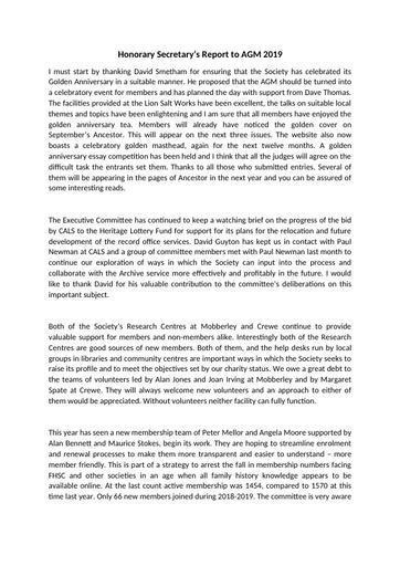 Honorary Secretary's Report for AGM 2019
