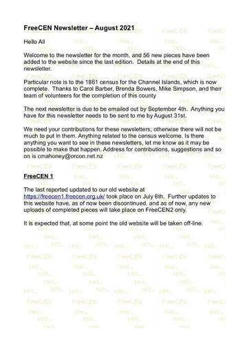 FreeCEN Newsletter August 2021