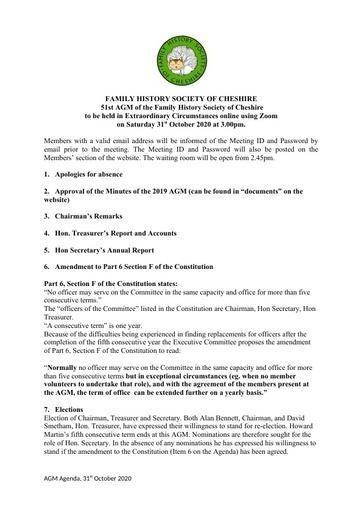 Agenda for AGM 2020