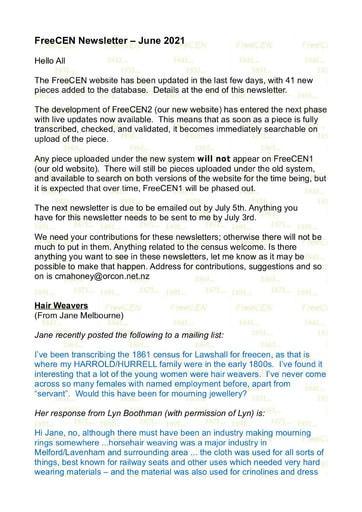 FreeCen Newsletter Number 5 June 2021