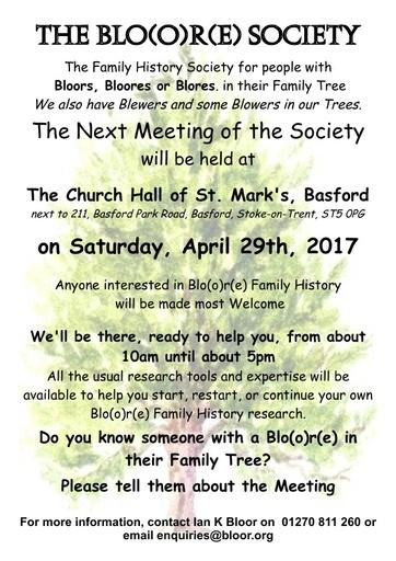 Bloore Society April 29th 2017