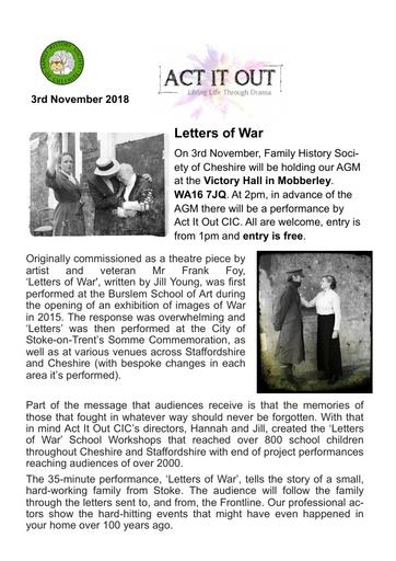 AGM 2018 Flyer Letters of War