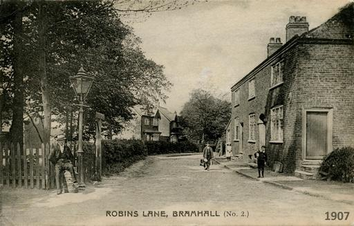 Our monthly venue as it was in 1907: the top of Robins Lane with the Congregational Church on the left.